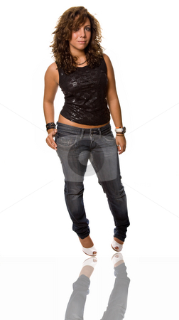 Woman stock photo, Young beautiful woman full body, isolated on white by Rui Vale de Sousa
