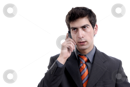 Young man stock photo, Young man on the phone in white background by Rui Vale de Sousa