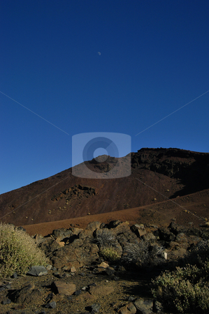 Mountain stock photo, Mountain and the moon by Rui Vale de Sousa