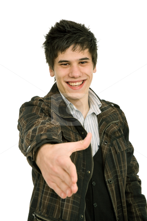 Handshake stock photo, Young casual man offering to shake the hand by Rui Vale de Sousa