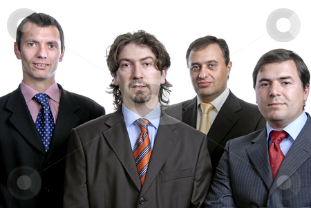 Business men stock photo, Four young business men portrait on white by Rui Vale de Sousa