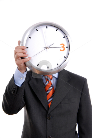 Time stock photo, Caucasian man wearing suit holding clock in the head by Rui Vale de Sousa