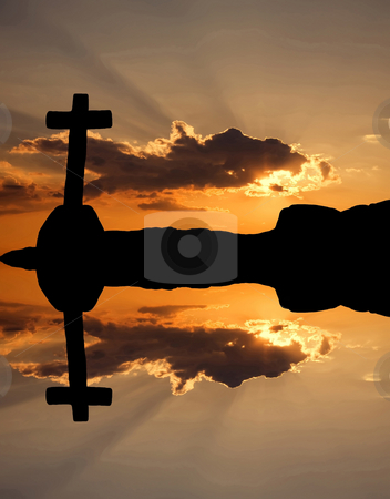 Sunset stock photo, Sun rays at the sunset and the orange clouds by Rui Vale de Sousa
