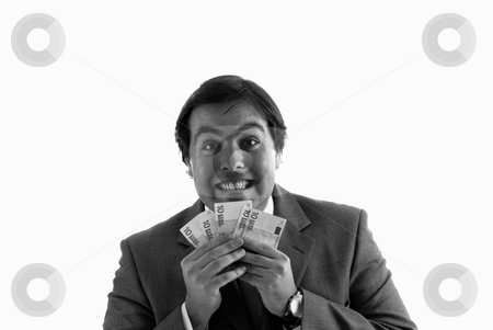 Money stock photo, Attractive young business man a over white background by Rui Vale de Sousa