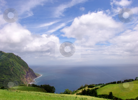 Fields stock photo, Azores coastal fields at sao miguel island by Rui Vale de Sousa