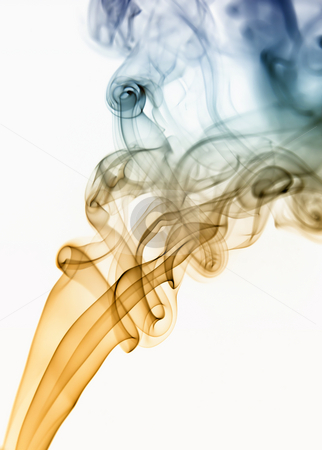 Smoke stock photo, Colored smoke from a cigarrette in white background by Rui Vale de Sousa