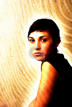 Woman stock photo, Young woman close up portrait turned into sand, digital work by Rui Vale de Sousa