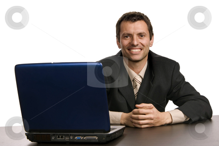 Working stock photo, Young man wondering and working with is laptop by Rui Vale de Sousa