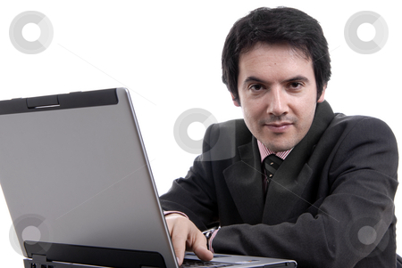 Working stock photo, Handsome young business man working with laptop by Rui Vale de Sousa