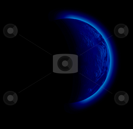 Planet stock photo, Illustration of a strange planet in black sky by Rui Vale de Sousa