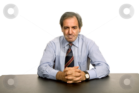 Executive stock photo, Mature business man on a desk, isolated on white by Rui Vale de Sousa