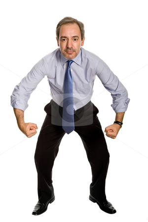 Silly stock photo, Mature business man with silly attitude, full body by Rui Vale de Sousa