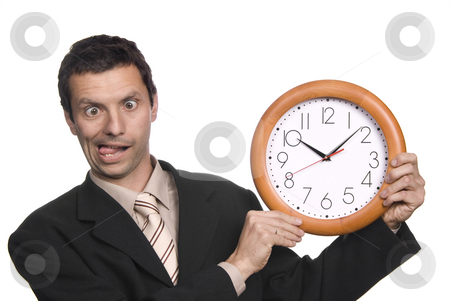 Clock stock photo, Silly business man portrait with a clock by Rui Vale de Sousa