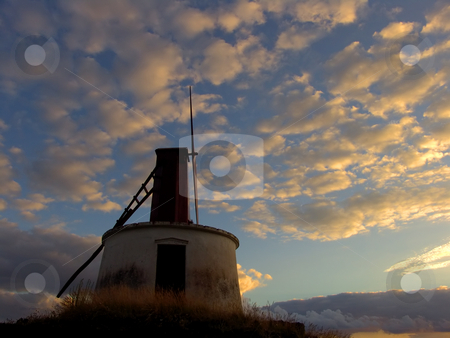 Windmill stock photo, Azores windmill at sunset by Rui Vale de Sousa