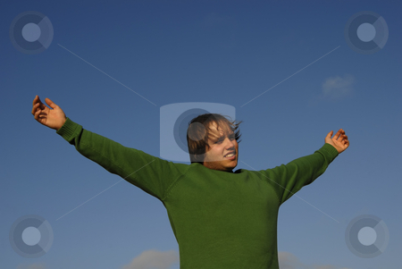 Open arms stock photo, Man with open arms with the sky as background by Rui Vale de Sousa