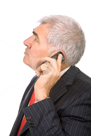 Calling stock photo, Mature man on the phone in white background by Rui Vale de Sousa