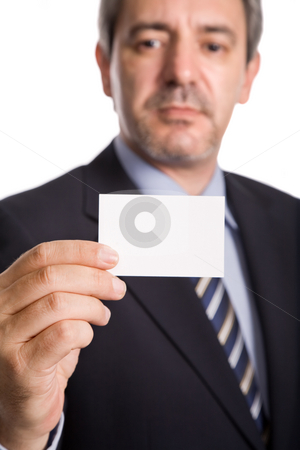 Business card stock photo, Businessman offering business card, focus on the hand by Rui Vale de Sousa