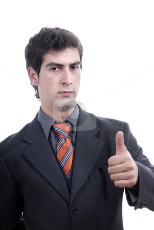 Thumbs stock photo, Young business man showing thumb up isolated by Rui Vale de Sousa