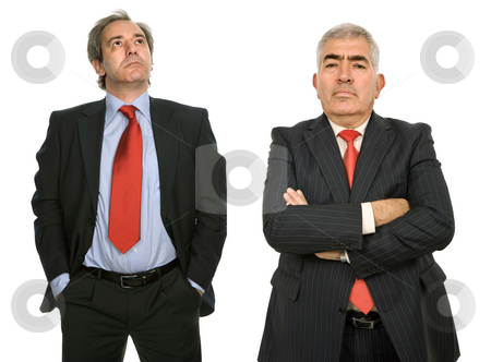 Team stock photo, Two mature business men isolated on white by Rui Vale de Sousa
