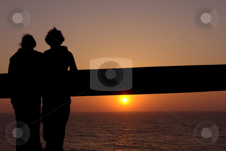 Lovers stock photo, Couple at the sunset by Rui Vale de Sousa