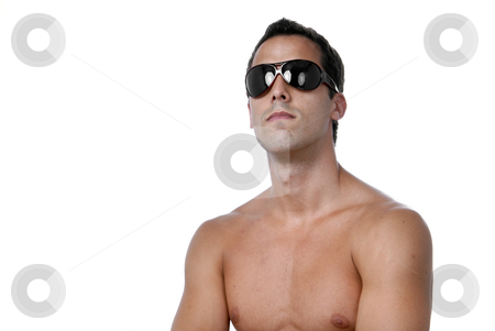 Youth stock photo, Naked muscular male model with sun glasses by Rui Vale de Sousa