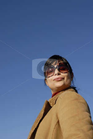 Kiss stock photo, Young casual girl portrait in the sun light by Rui Vale de Sousa