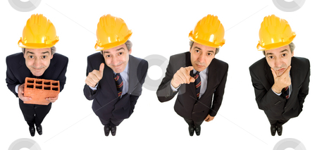 Worker stock photo, Mature worker in different positions, isolated on white by Rui Vale de Sousa
