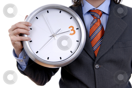 Clock stock photo, Business man wearing suit holding clock detail by Rui Vale de Sousa
