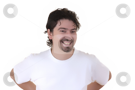 Fun stock photo, Young casual crazy man in a white background by Rui Vale de Sousa