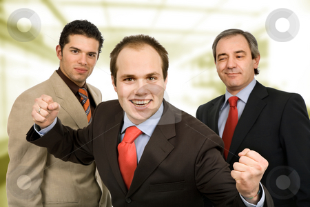 Team stock photo, Three happy business men with open arms by Rui Vale de Sousa