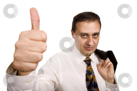 Thumb up stock photo, Business man going thumbs up, isolated on white by Rui Vale de Sousa