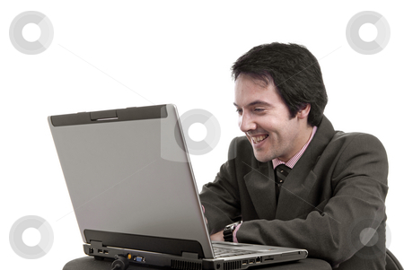 Happy stock photo, Young man and working with is laptop by Rui Vale de Sousa