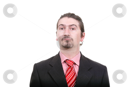 Silly stock photo, Bored young business man standing on white background by Rui Vale de Sousa
