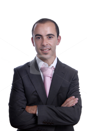 Portrait stock photo, Young business man portrait on white background by Rui Vale de Sousa