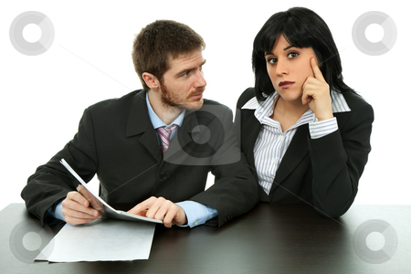 Working stock photo, Young business couple working isolated on white by Rui Vale de Sousa