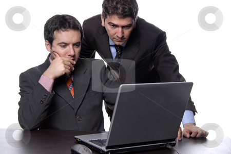 Laptop stock photo, Two young business man working with laptop by Rui Vale de Sousa