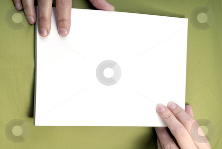 Add stock photo, Woman hands holding an empty card in the chest by Rui Vale de Sousa