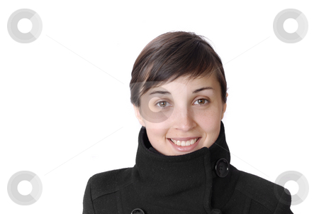 Smile stock photo, Girl smile white teeth over white background by Rui Vale de Sousa