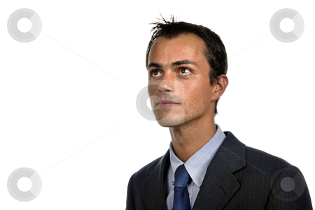 Wondering stock photo, Young business man portrait in white background by Rui Vale de Sousa