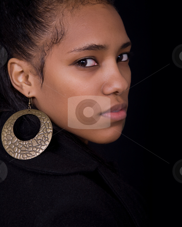 Woman stock photo, Young beautiful woman close up portrait, on black background by Rui Vale de Sousa