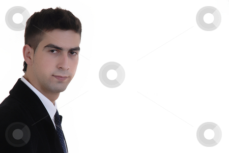 Thinking stock photo, Young business man portrait in white background by Rui Vale de Sousa