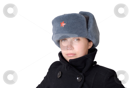 Woman stock photo, Young casual girl with a russian hat by Rui Vale de Sousa