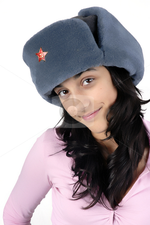 Russia stock photo, Young girl with a russian hat portrait by Rui Vale de Sousa