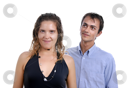 Couple stock photo, Young happy couple in a studio portrait by Rui Vale de Sousa