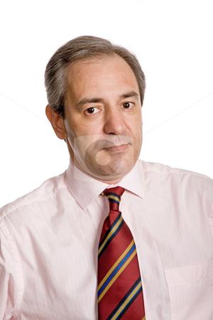 Closeup stock photo, Mature business man portrait in white background by Rui Vale de Sousa