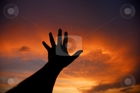 Hand stock photo, Human hand trying to reach the sky at sunset by Rui Vale de Sousa
