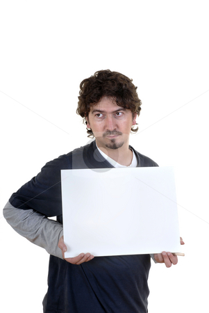 Card stock photo, Young man showing card in white background by Rui Vale de Sousa