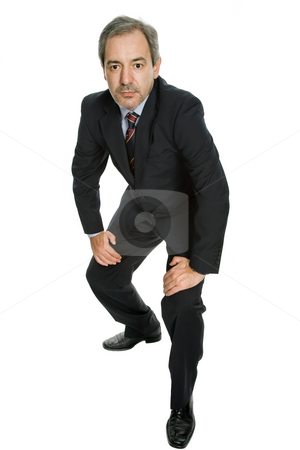 Standing stock photo, Mature business man isolated on white background by Rui Vale de Sousa