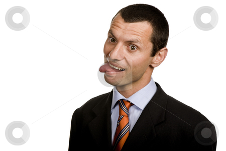 Silly stock photo, Silly young man portrait isolated on white by Rui Vale de Sousa