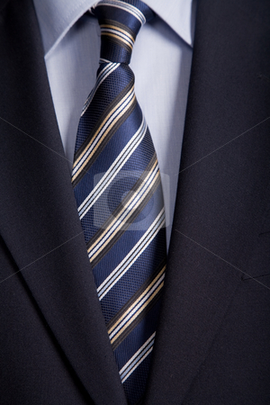 Blue tie stock photo, Detail of a business man suit with blue tie by Rui Vale de Sousa